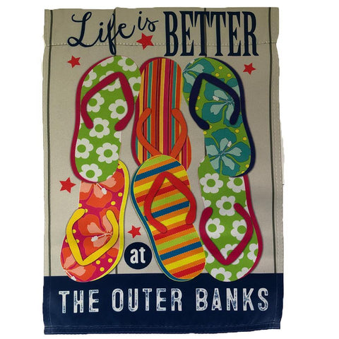Outer Banks Flip Flop Garden Flag