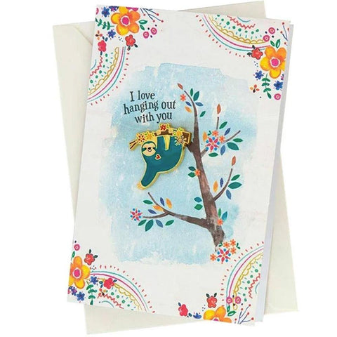 Sloth Hanging Out Pin Card - Kitty Hawk Kites Online Store