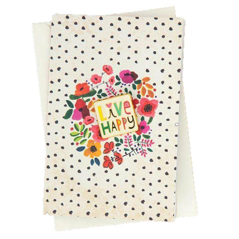 Live Happy Floral Pin Card
