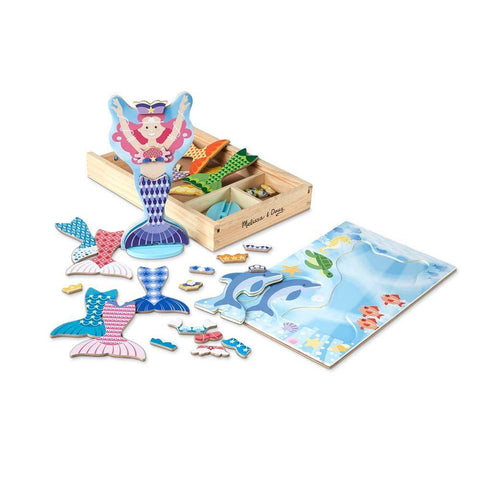 Mermaid & Dolphin Magnetic Dress-Up Wooden Dolls Pretend Play Set by Melissa & Doug - Kitty Hawk Kites Online Store