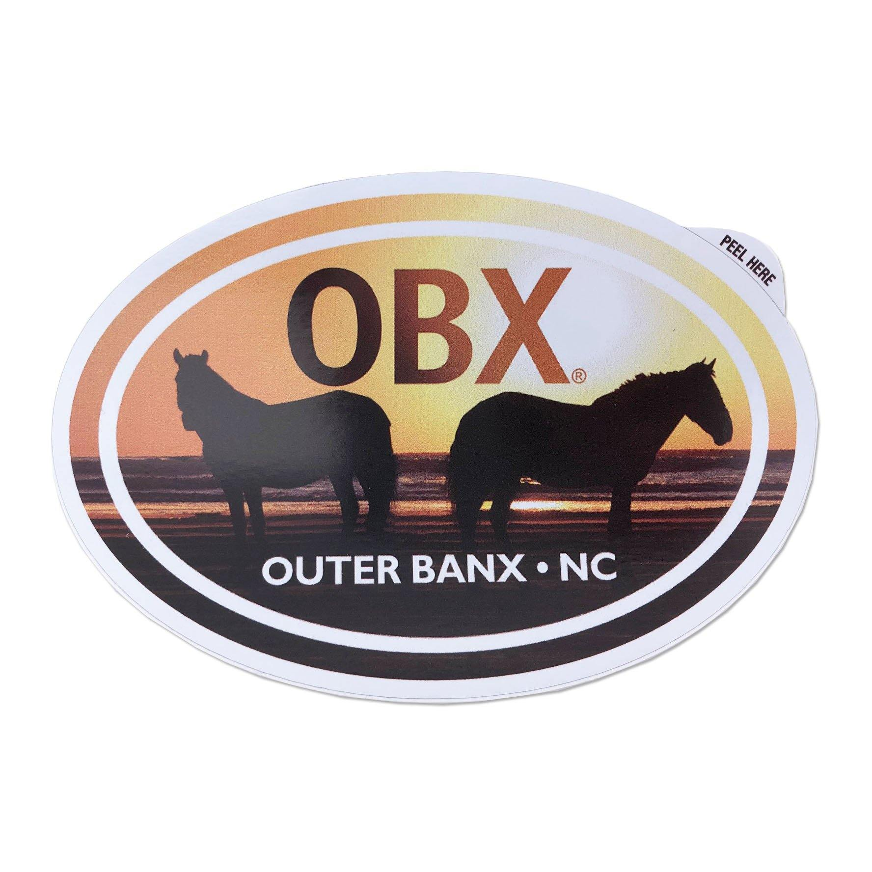 OBX Horses Oval Sticker - Kitty Hawk Kites Online Store