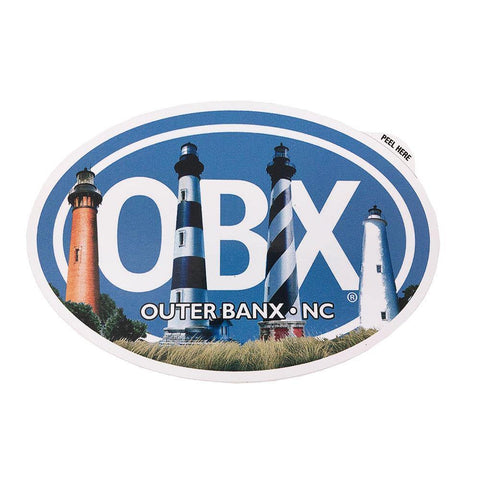 OBX Lighthouses Oval Sticker - Kitty Hawk Kites Online Store