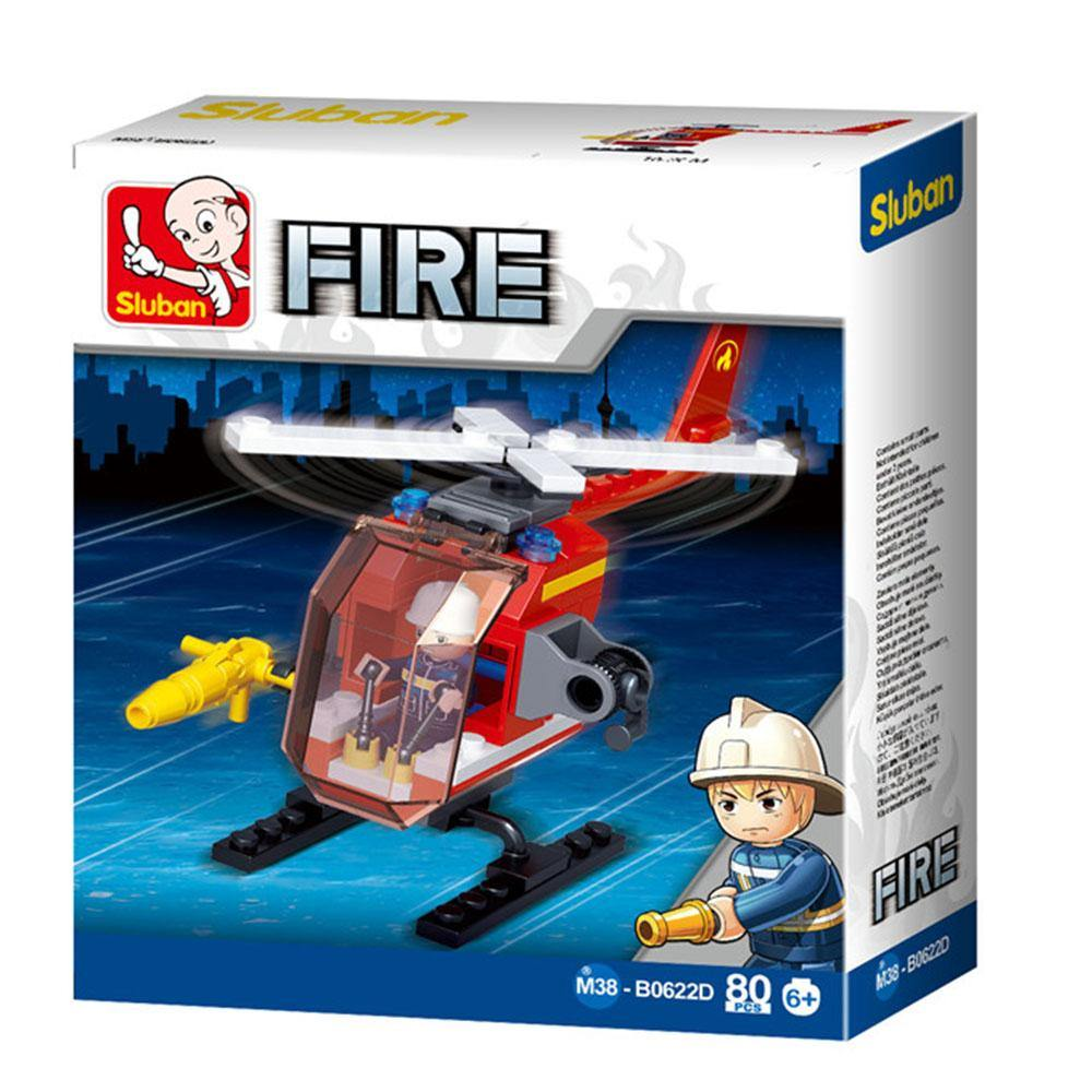Small Fire Helicopter 80 Piece Playset