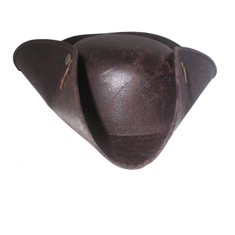 Distressed Faux Leather Tricorne