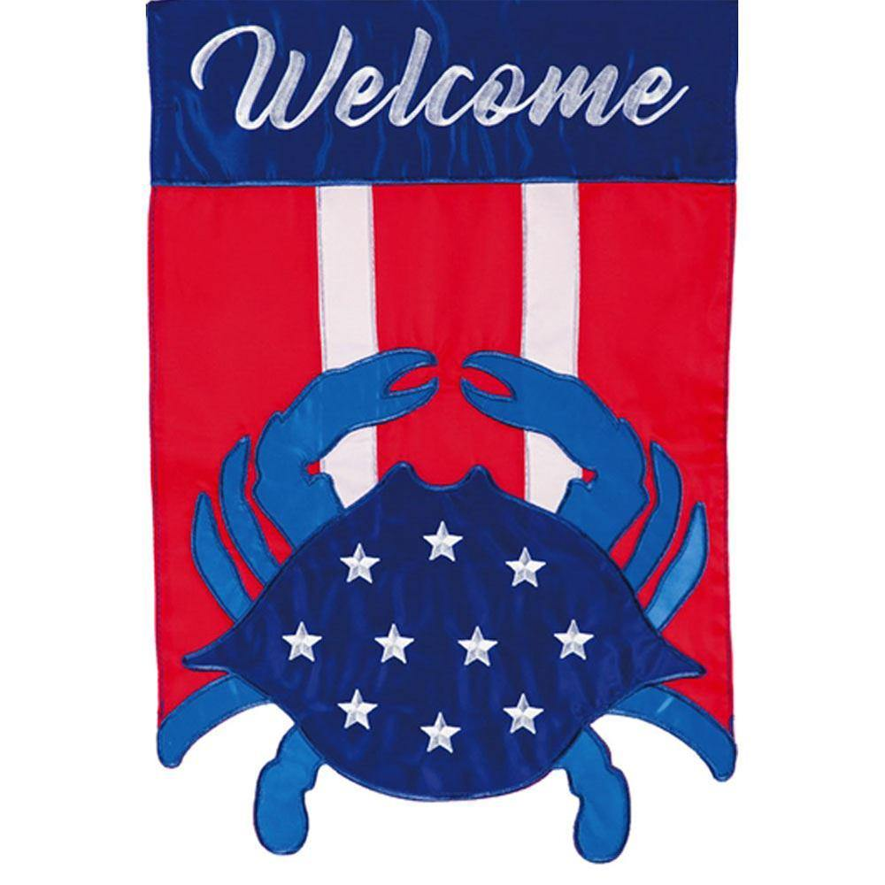 Americana Crab Welcome Garden Flag