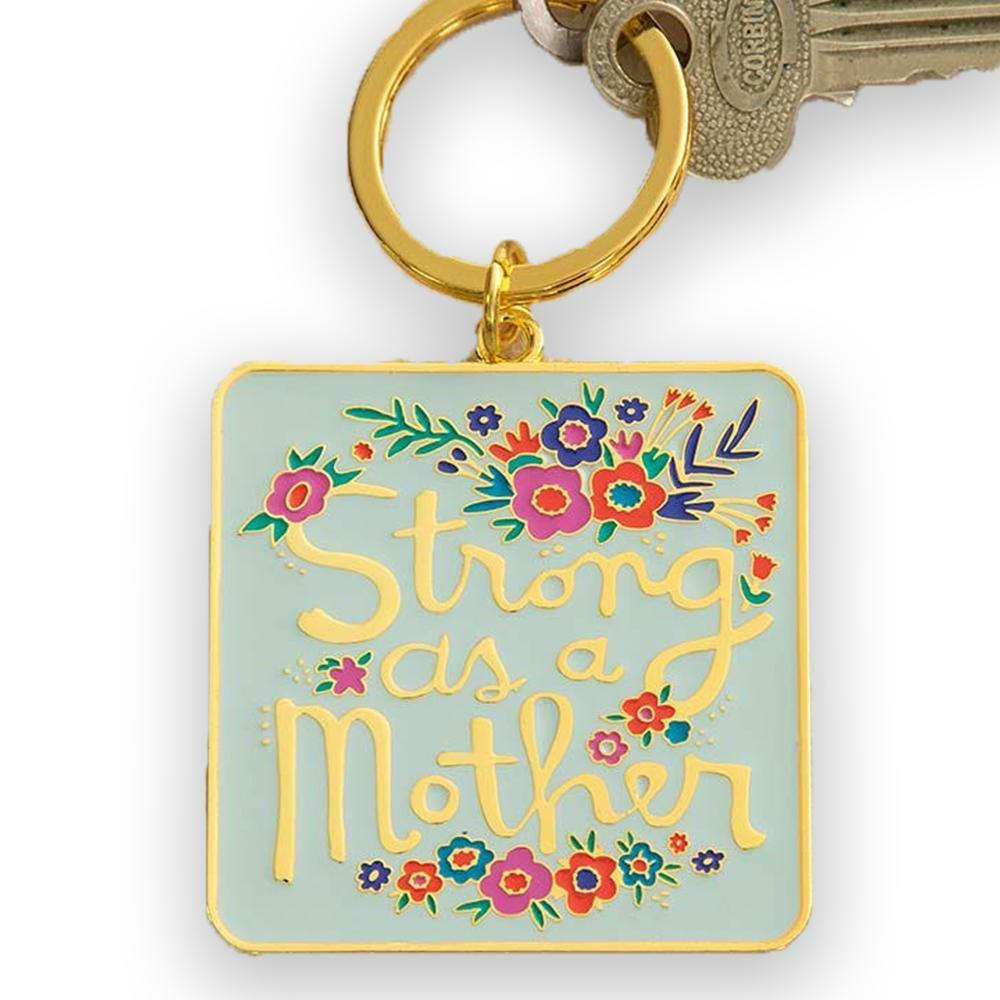 Strong As A Mother Enamel Keychain