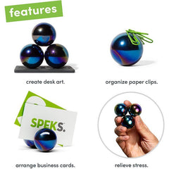 Set of 3 (33mm) Magnetic Balls - Sculptural Fun Stress Relief Desk Toy and Base for Adults