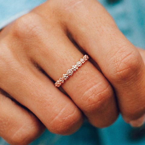 Rose Gold Floral Stacking Ring