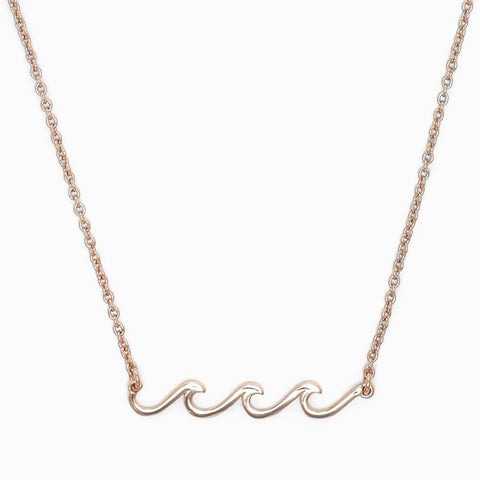 Rose Gold Delicate Wave Necklace - Kitty Hawk Kites Online Store