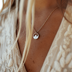 Rose Gold Stone Wave Necklace