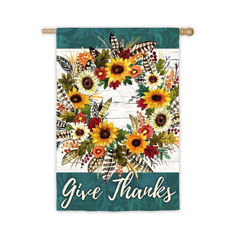 Give Thanks Wreath House Flag