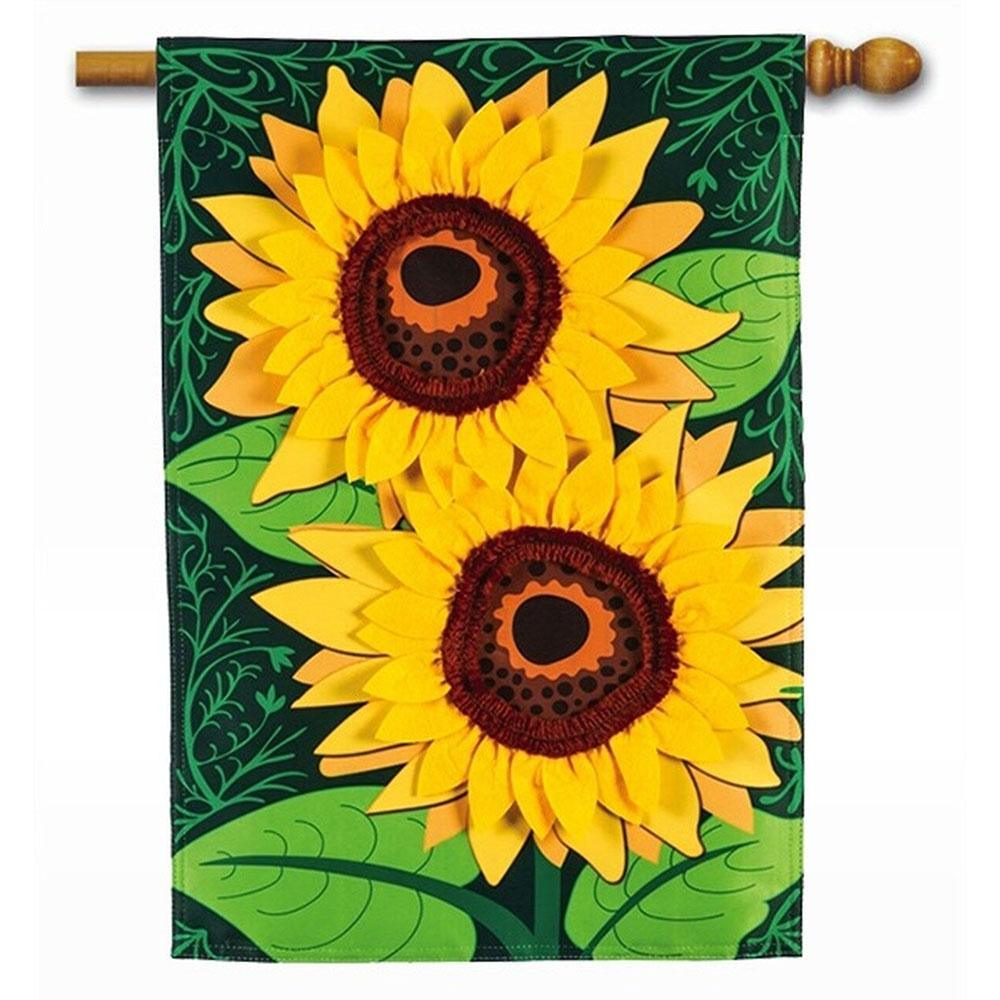Sunflower Applique House Flag