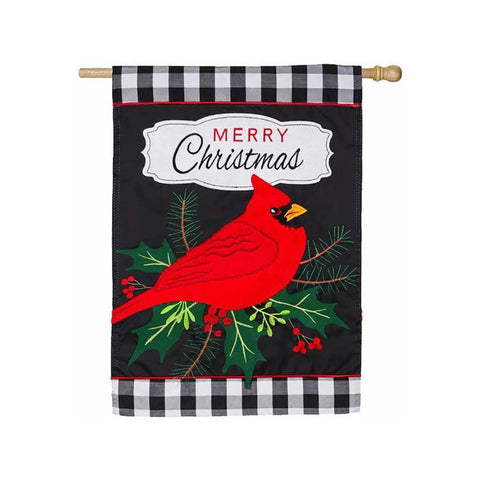 Merry Christmas Cardinal House Flag