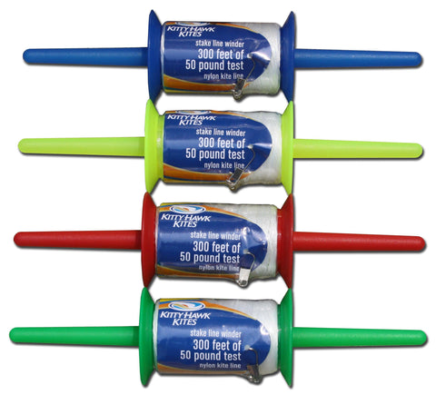 The Stake Kite Line Winder comes in assorted colors (generally blue, red, yellow or green), we will pick ONE for you!