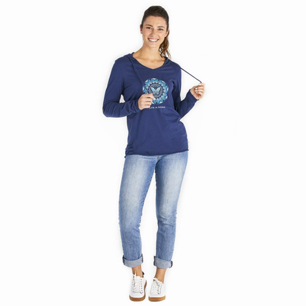 Women's LIG Butterfly Coin Long Sleeve Hooded Smooth Tee