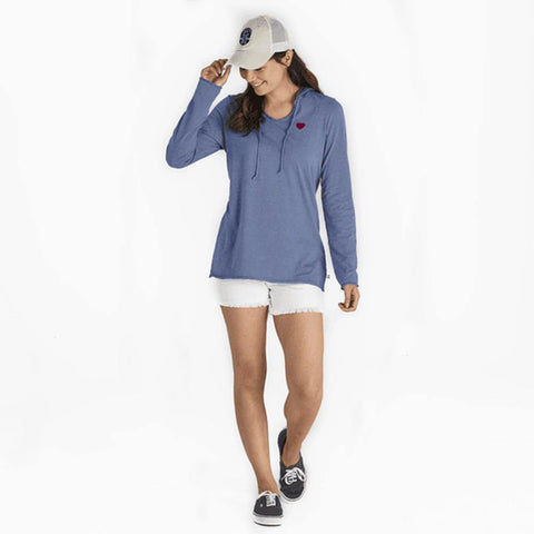 Women's Heart Long Sleeve Hooded Smooth Tee - Kitty Hawk Kites Online Store