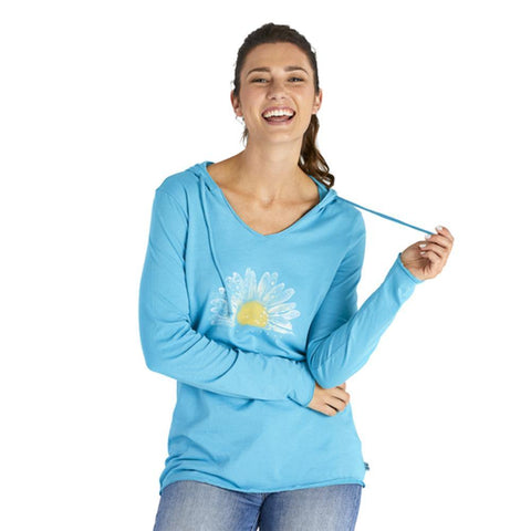 Women's Watercolor Daisy Long Sleeve Hooded Smooth Tee