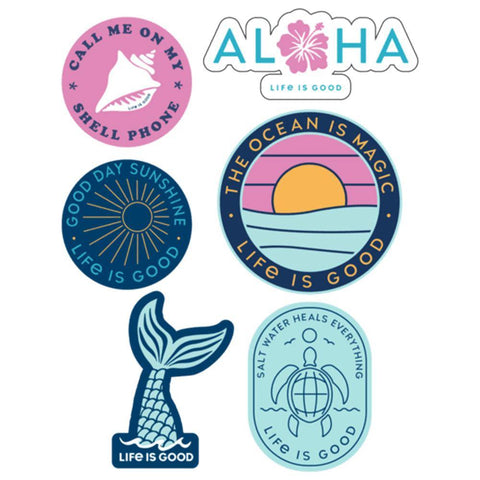 Beach Pack Six-Pack Sticker Pack - Kitty Hawk Kites Online Store