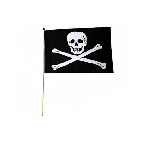 "12x18"" Jolly Roger Pirate Flag on Stick"