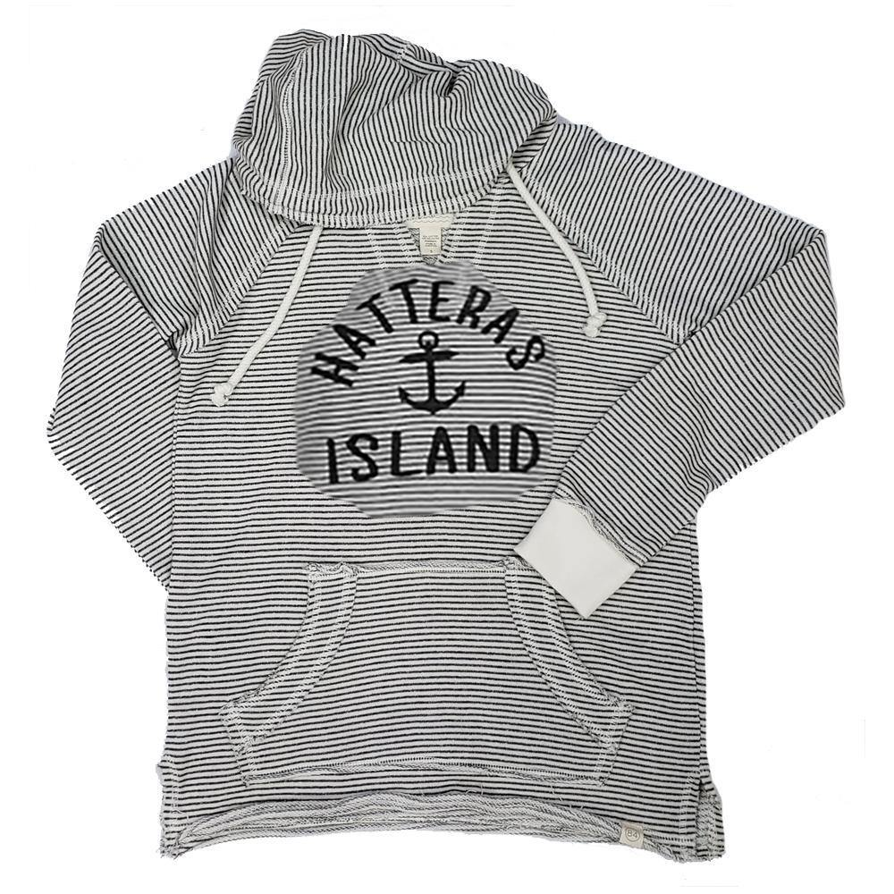 Hatteras Island Striped Baffled Anchor Hoodie