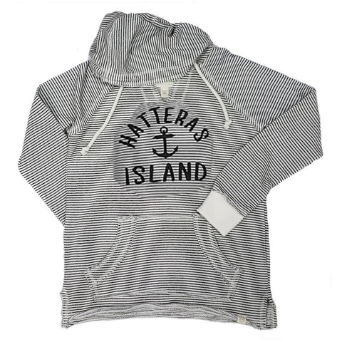 Hatteras Island Striped Baffled Anchor Hoodie - Kitty Hawk Kites Online Store