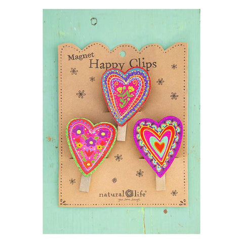 Hearts Magnetic Happy Clips (set of 3)