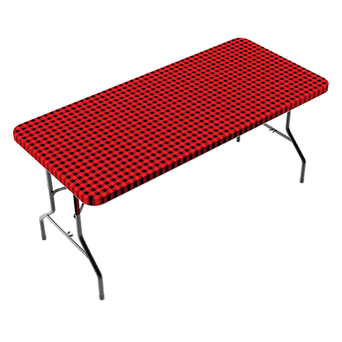 Fitted Polyester Table Cloth - Checkerboard Design