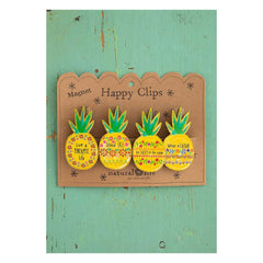 Pineapple Magnetic Happy Clips (set of 4)