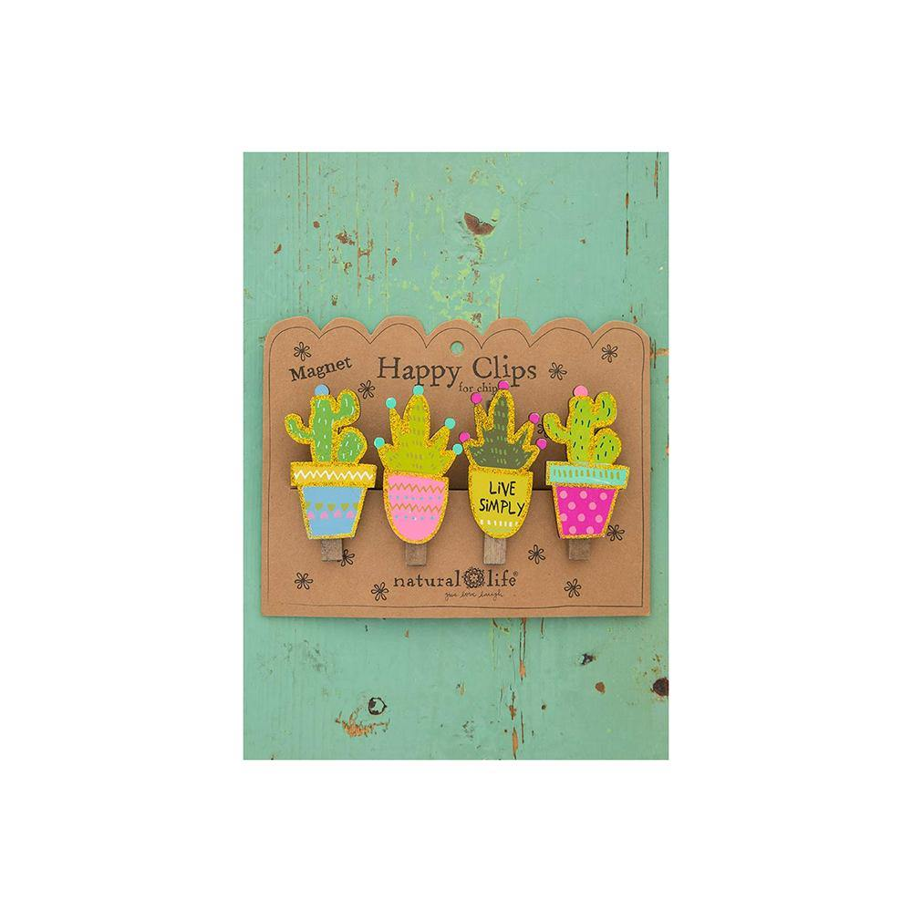 Succulents Magnetic Happy Clips (set of 4)