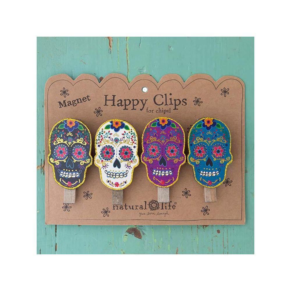 Sugar Skull Happy Clips (set of 4)