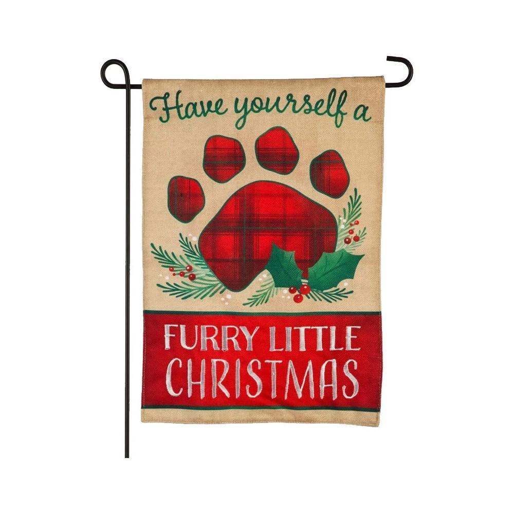 Furry Little Christmas Burlap Garden Flag