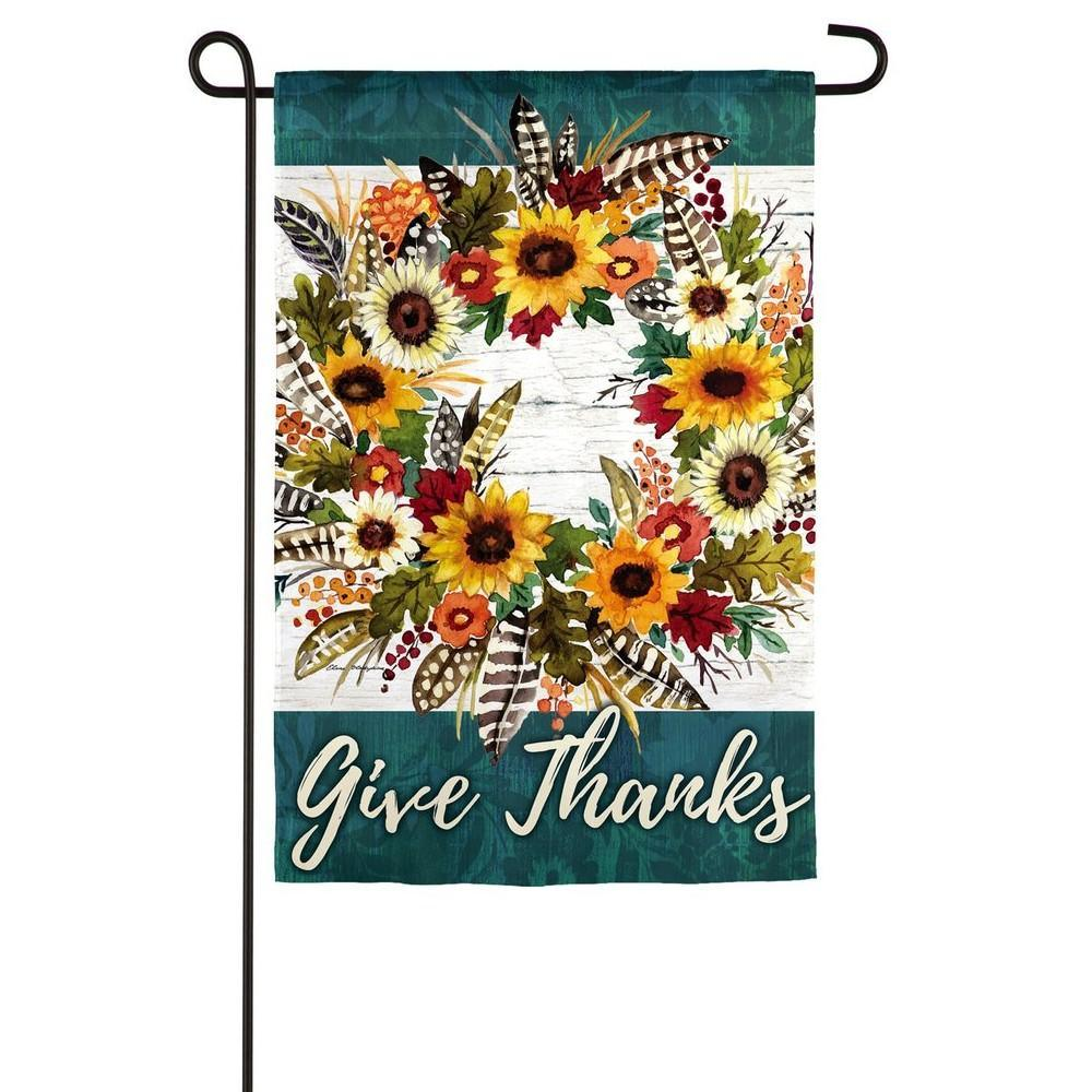 Give Thanks Wreath Garden Flag