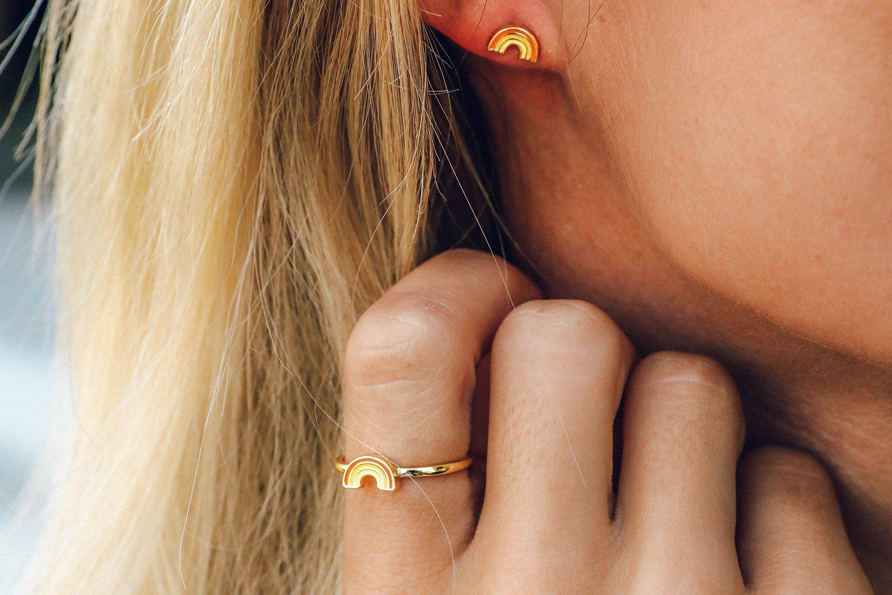 Pura Vida Gold Rainbow Earrings
