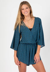 Dusty Blue Calico Romper