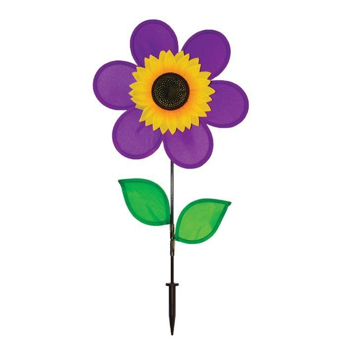 "12"" Purple Sunflower Wind Spinner With Leaves"