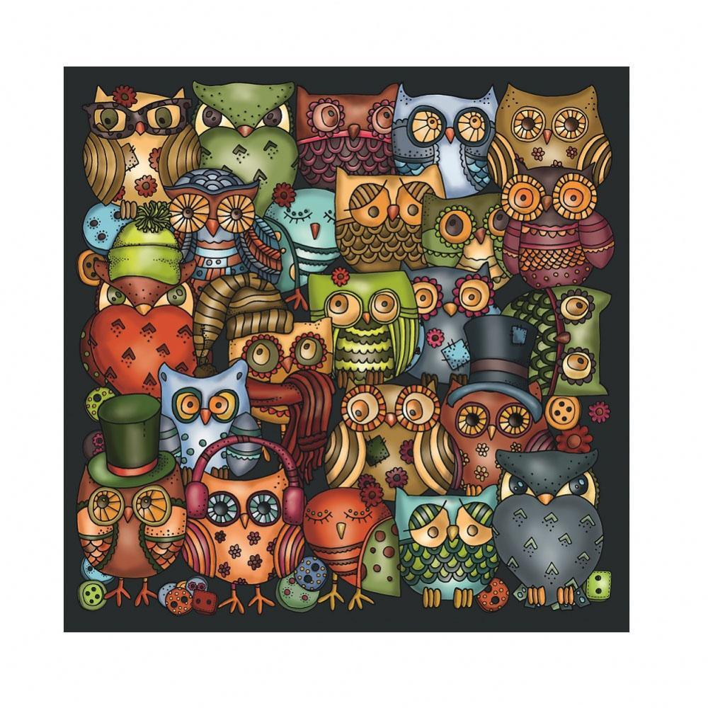 Owls Palapeli Puzzle with Built-in Frame & Stand