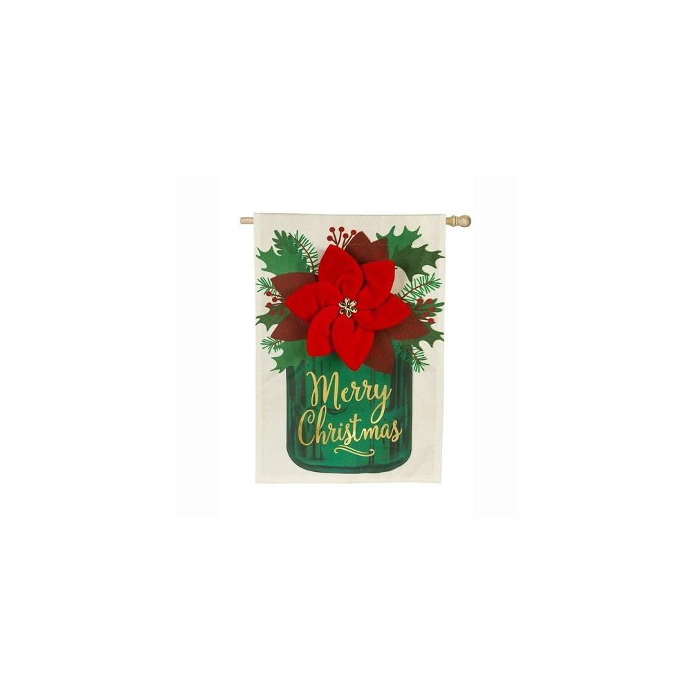 Poinsettia Mason Jar Linen House Flag