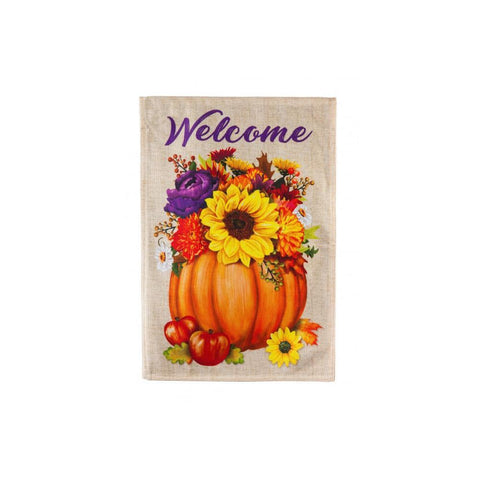 Floral Pumpkin Burlap House Flag