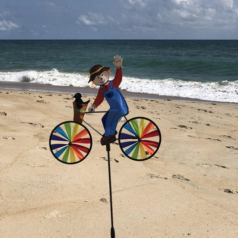 Scarecrow On Bike 20 Inch Wind Spinner