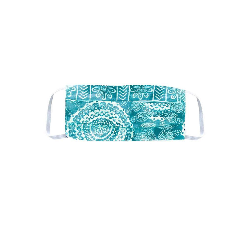 Teal Pleated Watercolor Face Mask