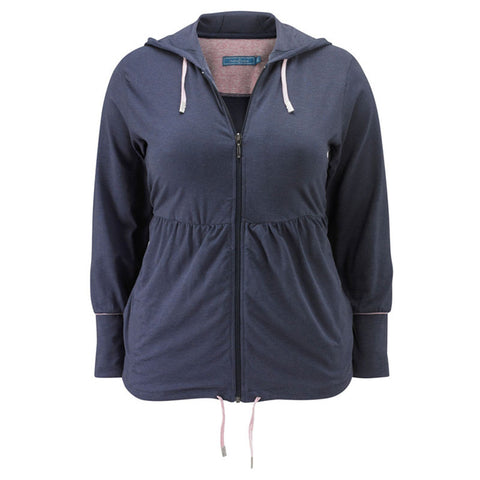 Plus size sportswear - zipped hoody jacket in grape marl