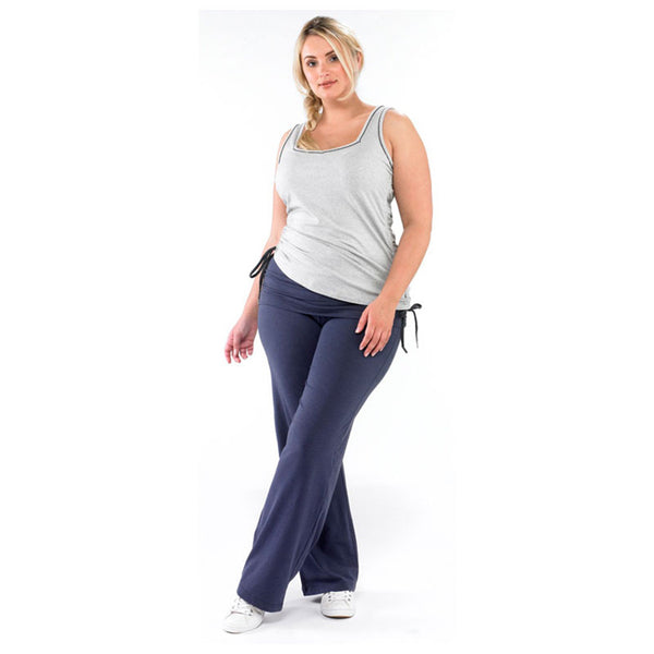 Plus size sportswear - ruched vest in light grey marl with curvy yoga pant in grape