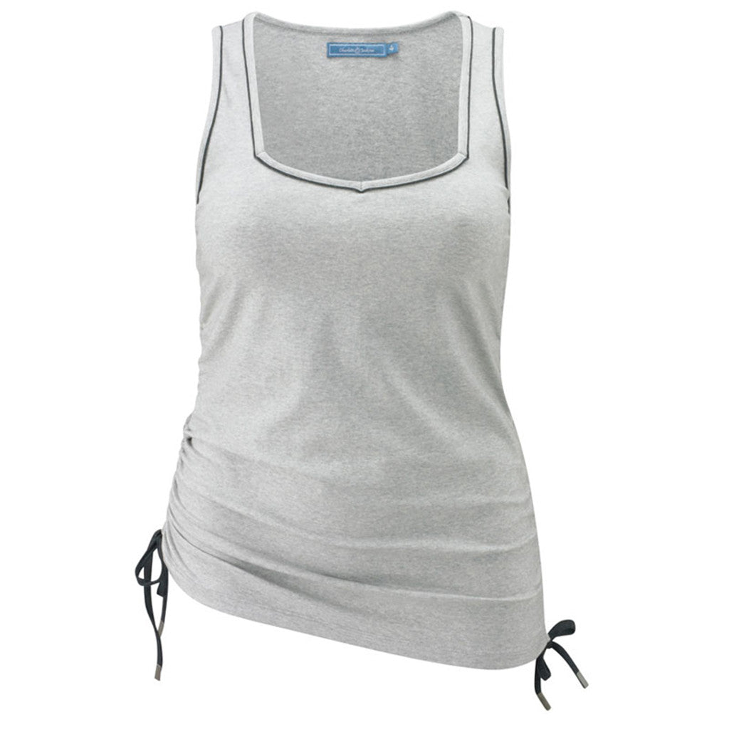 Plus size sportswear - ruched vest in light grey marl - ruched