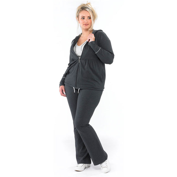 Plus size sportswear - zipped hoody jacket in dark grey marl zipped with curvy bootleg pants - standing