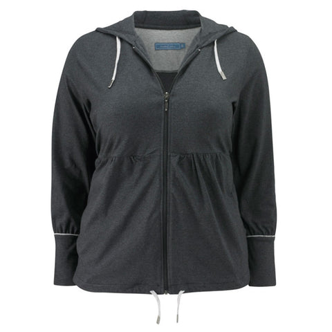 Plus size sportswear - zipped hoody jacket in dark grey marl