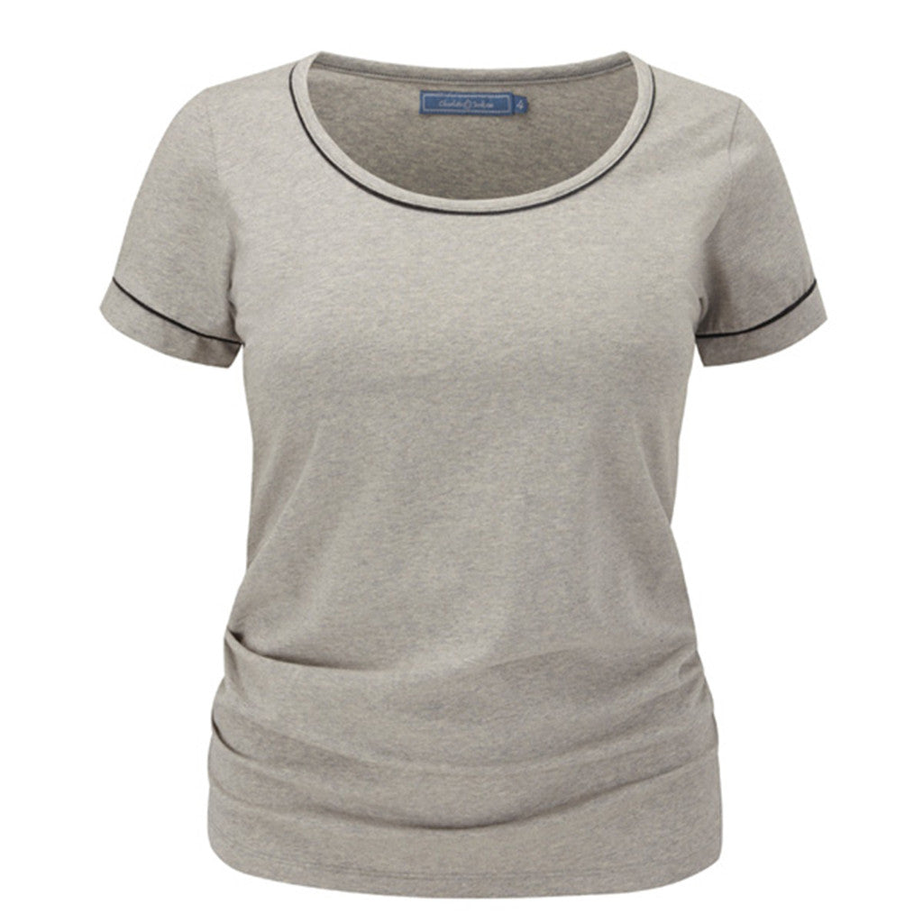 Scoop Tee - Light Grey -  Plus Size Gym Clothes | Plus Size Sportswear | Charlotte Jackson Womenswear