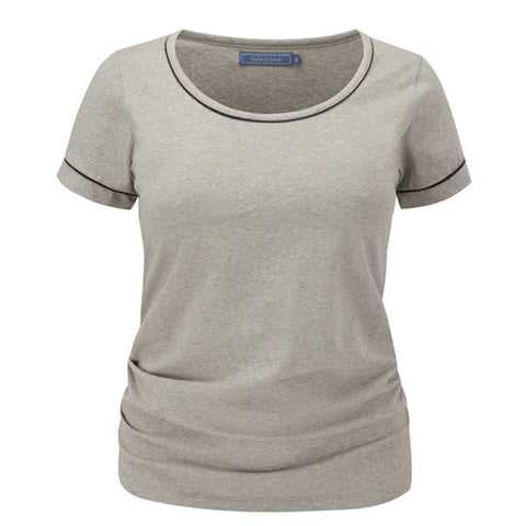 Plus size sportswear - scoop tee in light grey marl