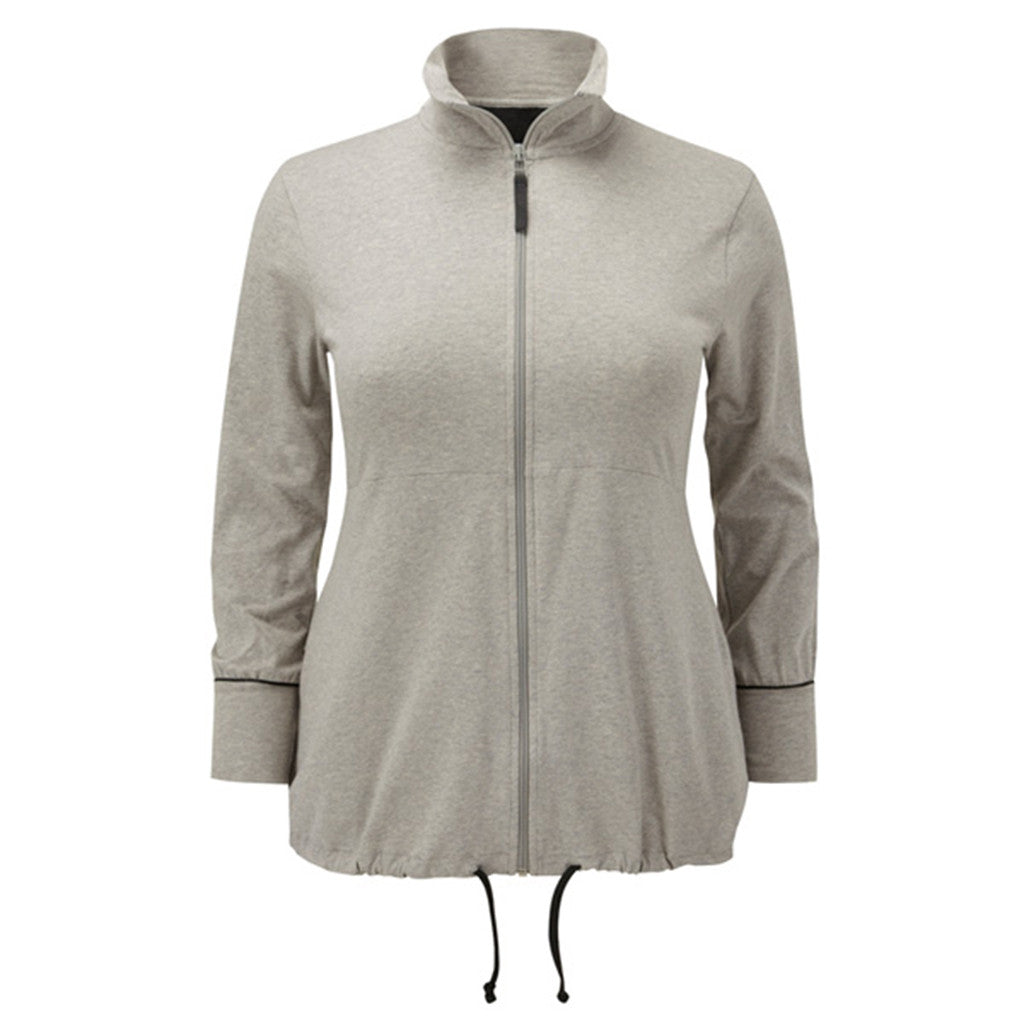 Plus size sportswear - curvy zipped jacket in light grey marl
