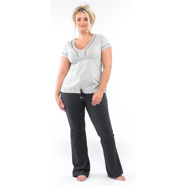Plus size sportswear - curvy tee in light grey with dark grey curvy bootleg pants
