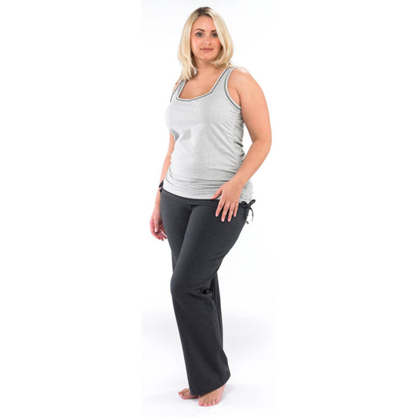 Plus size sportswear - curvy bootleg pant in dark grey with ruched light grey vest